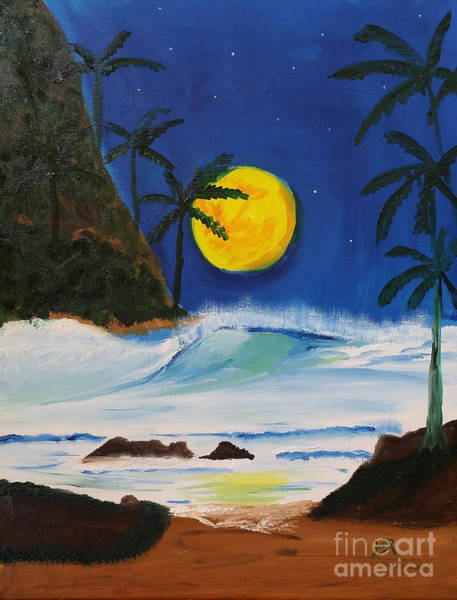 Avi Painting - Full Moon Over Hanalei Bay by Avishai Avi     Peretz