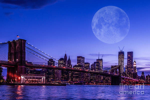 Photograph - Full Moon Over Manhattan II by Hannes Cmarits