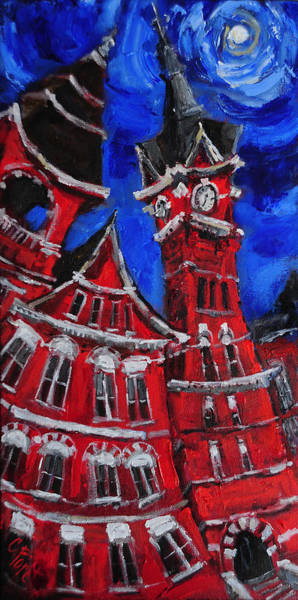 Wall Art - Painting - Full Moon Over Samford by Carole Foret