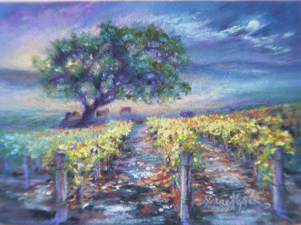 Full Moon Over The Vineyard Art Print