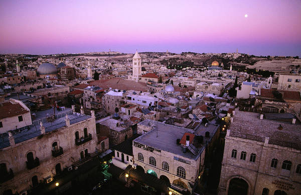 Old Jerusalem Photograph - Full Moon Rising Above The Old City And by Hanan Isachar