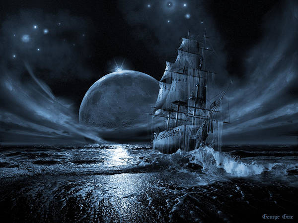 Tall Ships Wall Art - Digital Art - Full Moon Rising by George Grie