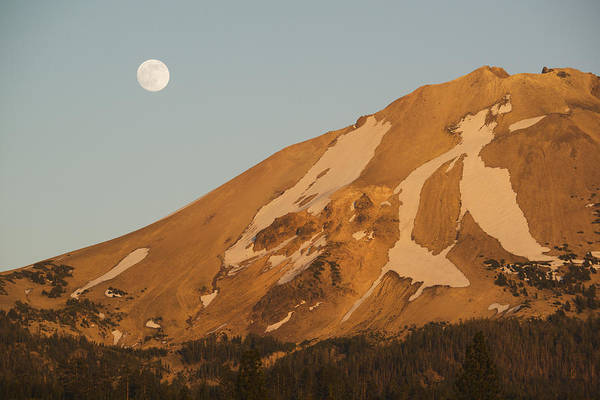 Photograph - Full Moon Rising Mt Lassen California by Kevin Schafer
