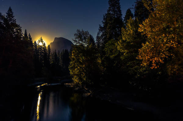 Half Dome Wall Art - Photograph - Full Moon Rising Over Half Dome by Scott McGuire