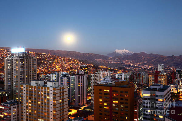 Photograph - Full Moon Rising Over La Paz by James Brunker