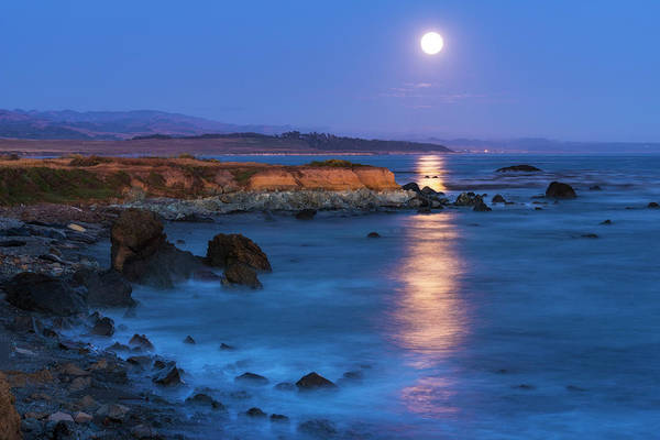 Monterey Bay Photograph - Full Moon Rising Over Piedras Blancas by Russ Bishop