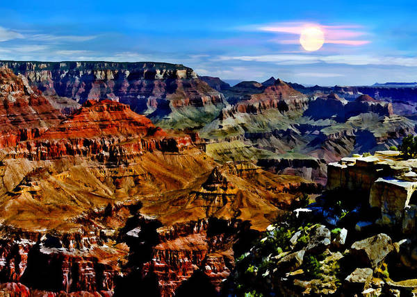 Photograph - Full Moon Rising Yaki Point South Rim Grand Canyon National Park Arizona by Bob and Nadine Johnston