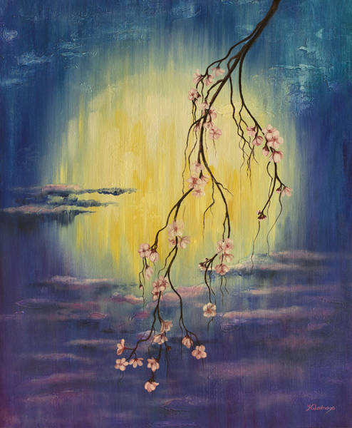 Wall Art - Painting - Full Moon Sakura by Yuliya Glavnaya