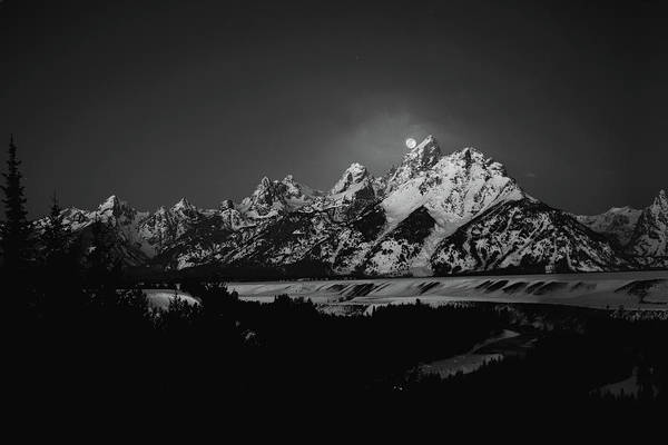 Wall Art - Photograph - Full Moon Sets In The Teton Mountain Range by Raymond Salani Iii