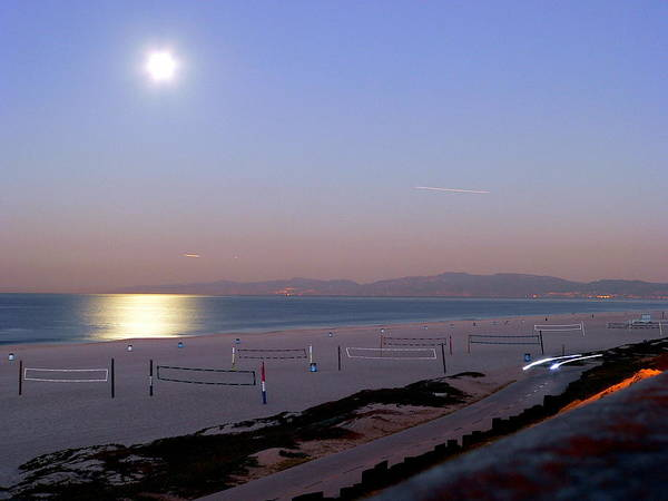 Photograph - Full Moon Setting On Ocean At Sunrise by Jeff Lowe