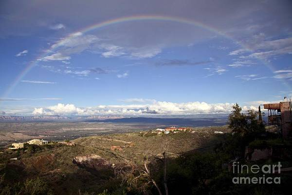 Photograph - Full Rainbow Over Jerome by Ron Chilston