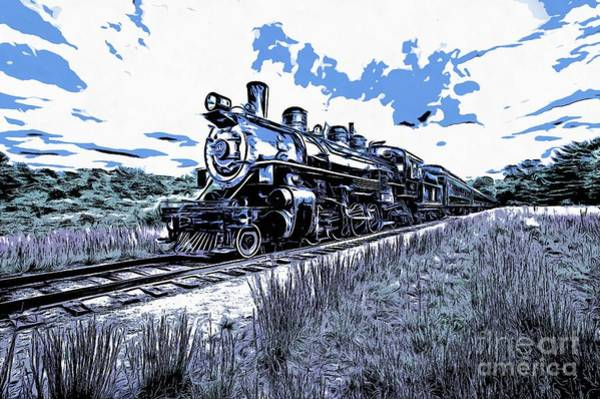 Photograph - Full Steam Through The Meadow Graphic by Edward Fielding