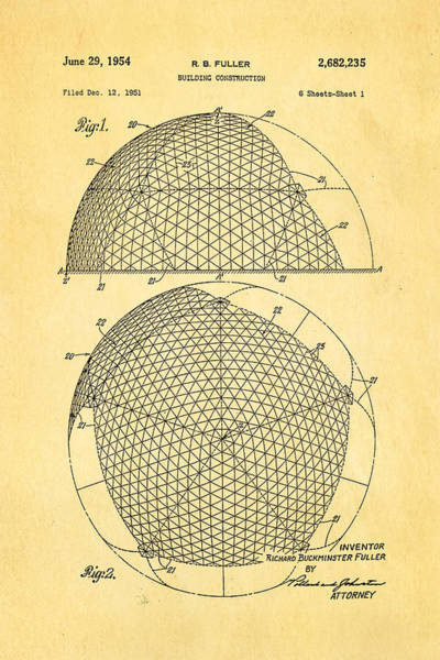 Fitter Photograph - Fuller Geodesic Dome Patent Art 1954  by Ian Monk