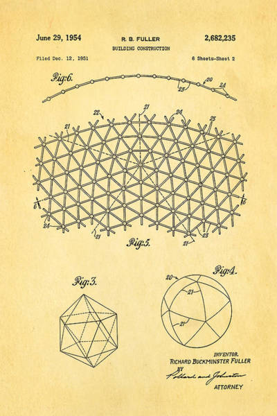 Fitter Photograph - Fuller Geodesic Dome Patent Art 2 1954  by Ian Monk