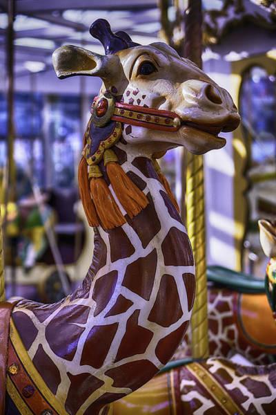 Colorful Giraffe Photograph - Fun Giraffe Carousel Ride by Garry Gay