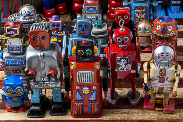 Tin Toy Photograph - Fun Toy Robots by Garry Gay