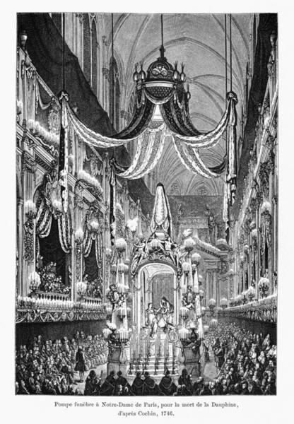 Notre Dame Drawing - Funeral Dauphine, 1746 by Granger