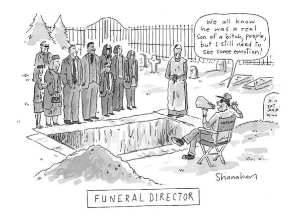 Emotions Drawing - 'funeral Director' by Danny Shanahan