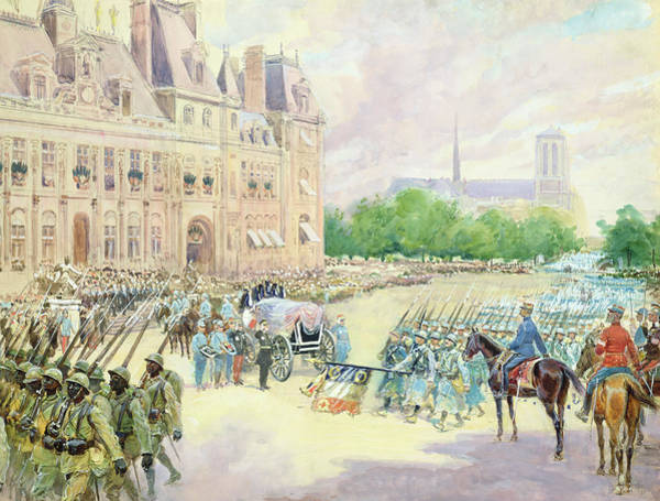 Marching Painting - Funeral Of General Joseph Gallieni by Alphonse Lalauze