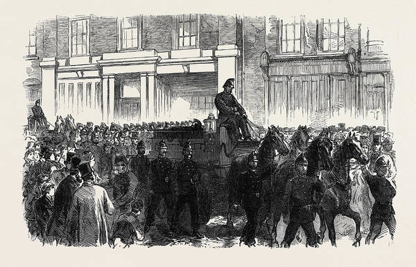 Brigade Drawing - Funeral Of One Of The Metropolitan Fire Brigade Uk 1866 by English School