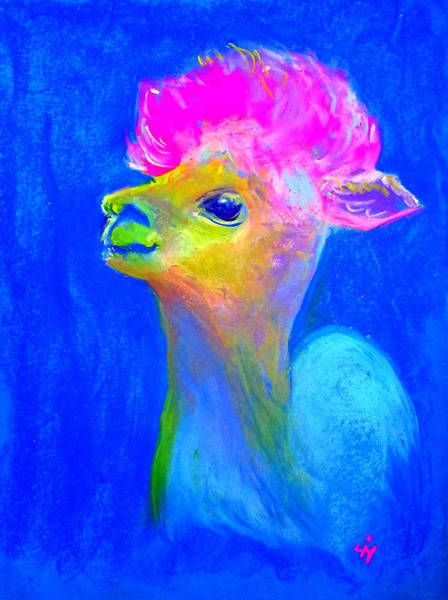 Alpaca Painting - Funky Baby Alpaca by Sue Jacobi