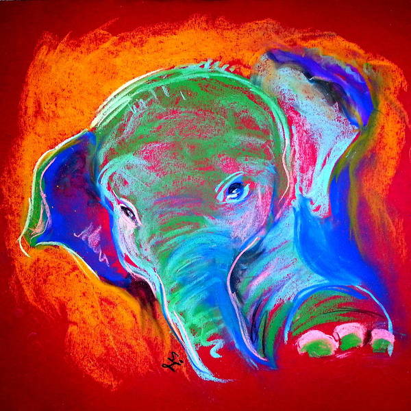 Uplift Painting - Funky Baby Elephant Blue by Sue Jacobi