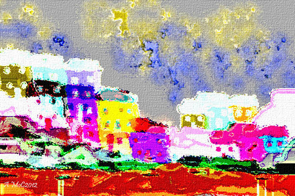 Q Digital Art - Funky City by Ang Q