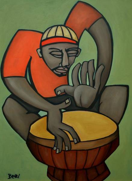 Conga Drum Painting - Funky Drummer 1 by Charles Bevel