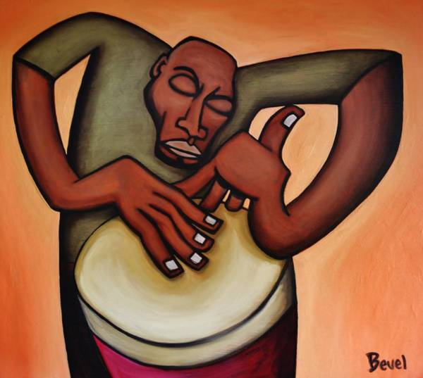 Djembe Wall Art - Painting - Funky Drummer 2 by Charles Bevel