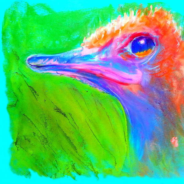 Rhea Painting - Funky Ostrich Profile by Sue Jacobi