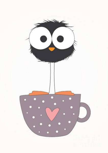 Decorative Digital Art - Funny Bird On A Cup Illustration by Mers1na
