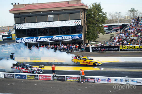 Drag Racing Photograph - Funny Cars by Beverly Guilliams