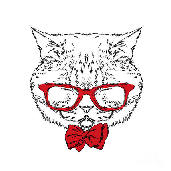 Wall Art - Digital Art - Funny Cat In A Tie And Glasses. Vector by Vitaly Grin