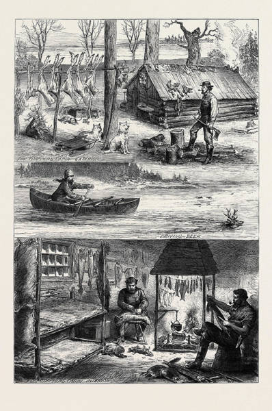 Backwoods Wall Art - Drawing - Fur Trappers In The Backwoods Of Canada 1880 by Canadian School
