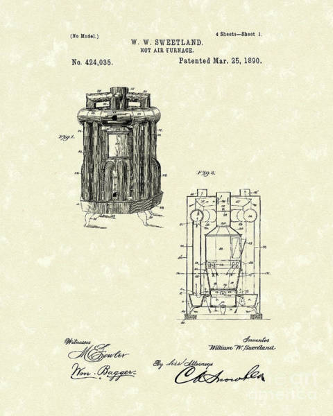 Drawing - Furnace 1890 Patent Art by Prior Art Design