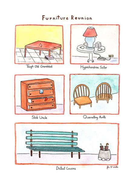 July 13th Drawing - Furniture Reunion by John S.P. Walke