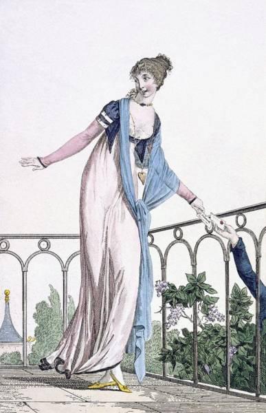 Balcony Drawing - Furtive Correspondance, Illustration by Philibert Louis Debucourt