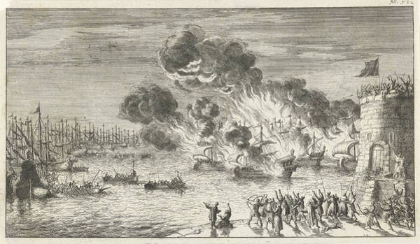 Wall Art - Drawing - Futile Effort Of The Greeks To Burn The Venetian Fleet by Jan Luyken And Timotheus Ten Hoorn