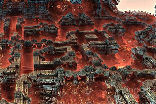 Future City In Red Art Print by Bernard MICHEL