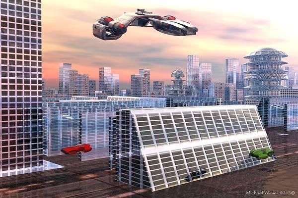 Speed Boat Digital Art - Future Transportation by Michael Wimer