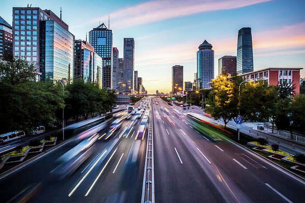 Rush Hour Photograph - Futuristic City At Dusk by Itsskin