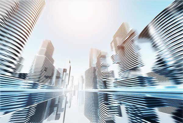 Standing Digital Art - Futuristic Cityscape by Jorg Greuel