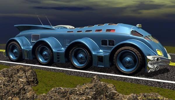 Speed Boat Digital Art - Futuristic Mega Bus by Michael Wimer