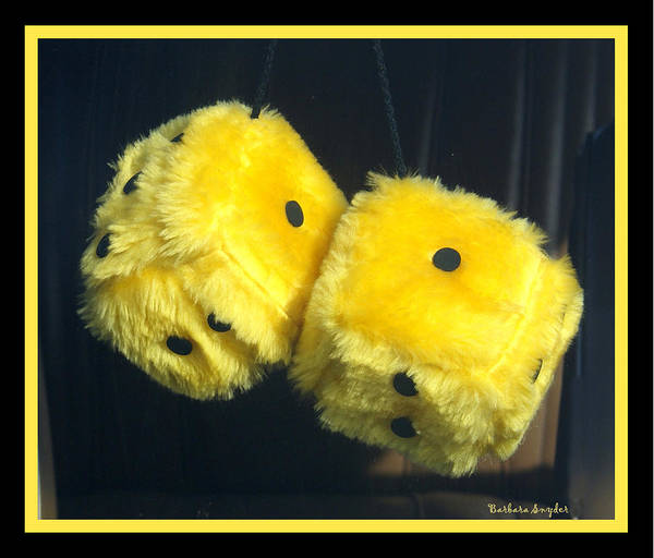 Dice Digital Art - Fuzzy Yellow Dice by Barbara Snyder