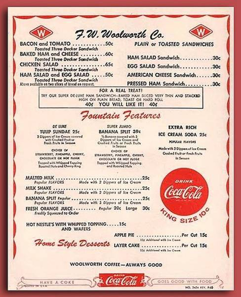 Milk Shake Photograph - Fw Woolworth Lunch Counter Menu by Thomas Woolworth