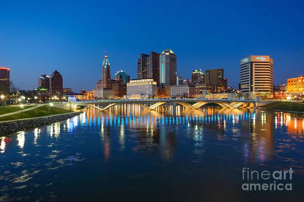 Photograph - Fx2l472 Columbus Ohio Night Skyline Photo by Ohio Stock Photography