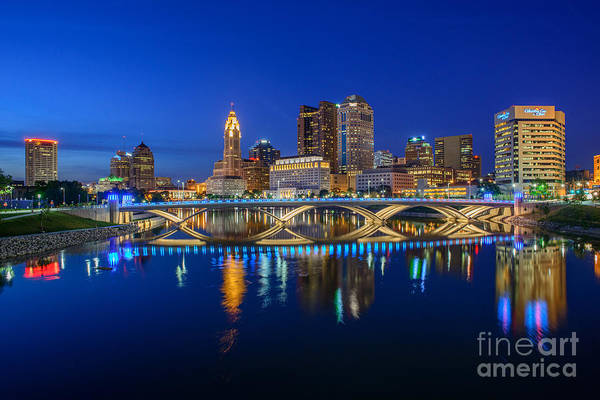 Photograph - Fx2l530 Columbus Ohio Night Skyline Photo by Ohio Stock Photography