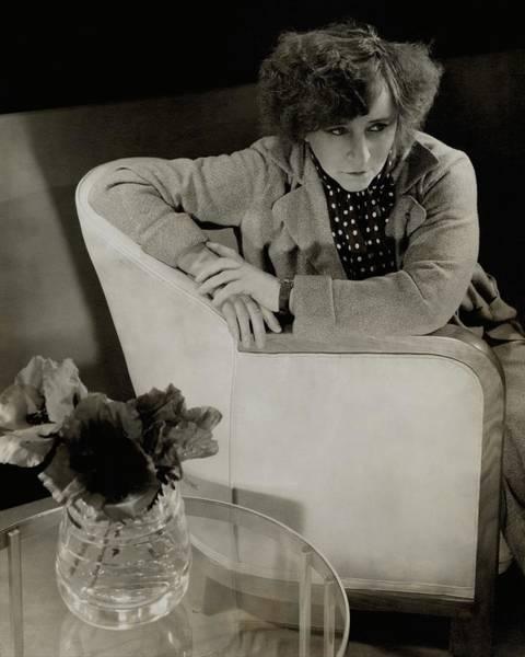 Vase Photograph - Gabrielle Sidonie Colette Sitting On An Armchair by Edward Steichen