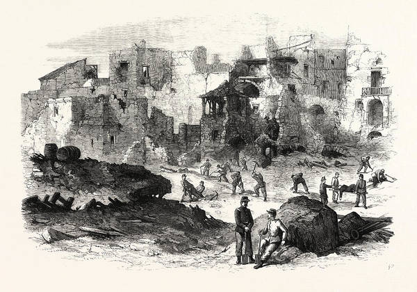 Explosion Drawing - Gaeta Effects Of The Explosion Of The Powder-magazine by English School