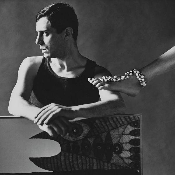 Visual Arts Photograph - Gaetano Pompa With A Woman's Foot by Karen Radkai